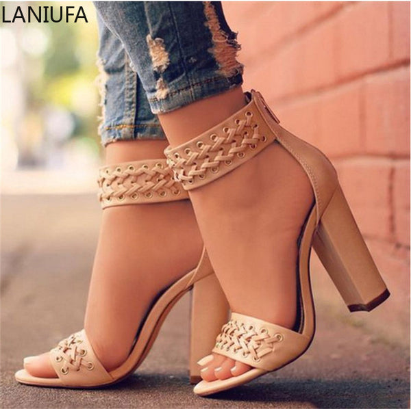 Women's zipper Peep Toe  High Heels