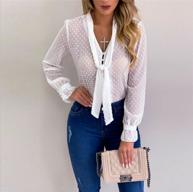 Ladies Mesh Sheer Long Sleeve Sexy V Neck Blouse