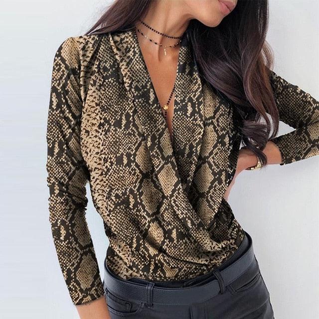 Women's Sexy Long Sleeve Notched Blouse
