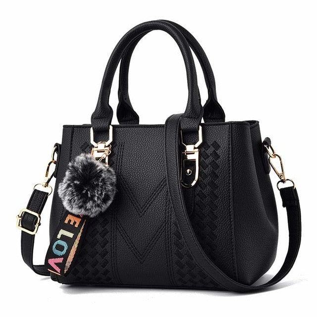Embroidery Designer PU Leather Shoulder Handbag with Fur Ball