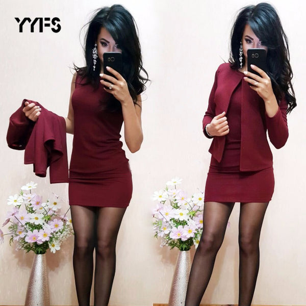 Womens Two Piece Sexy Sheath O-Neck Mini Dress With Blazer