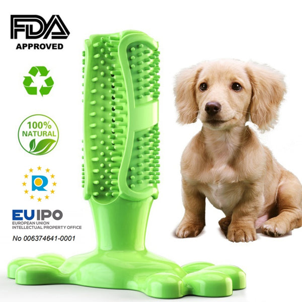 Pet Dog Toothbrush Chew Toy Doggy Brush Stick Soft Rubber Teeth Cleaning