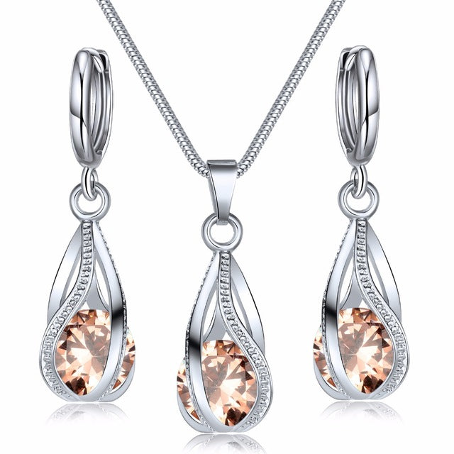 Crystal Necklace Earrings Set Jewelry Set