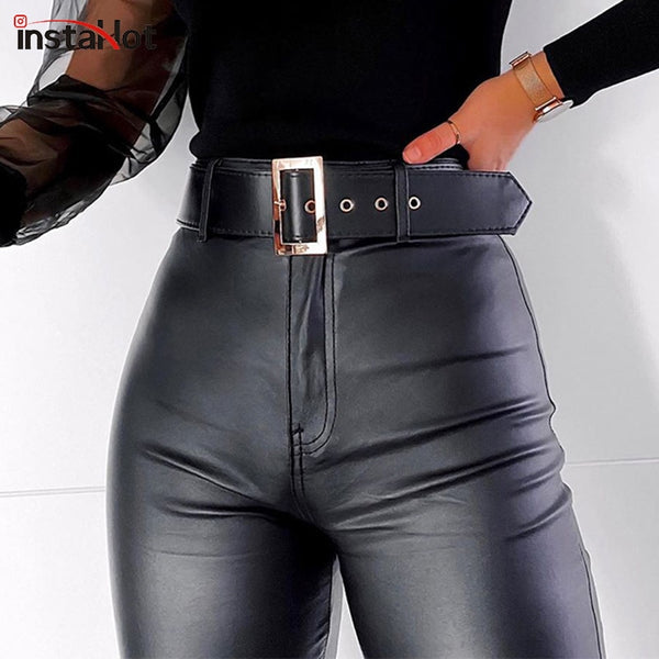 Women High Wiast Black Faux Leather Pencil Pants
