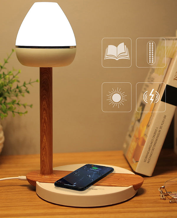 Wood Desk  Wireless Phone Charger Touch Lamp For iphone Xs Max Samsung S9