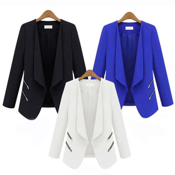 Women's Solid Slim Fit with Pocket Long Sleeve Blazer