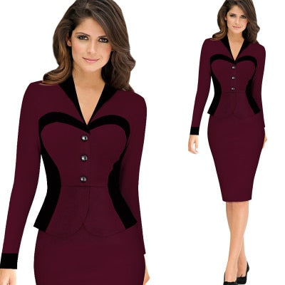 Women's Elegant Retro Faux Jacket Long sleeve Contrast Dress Suit