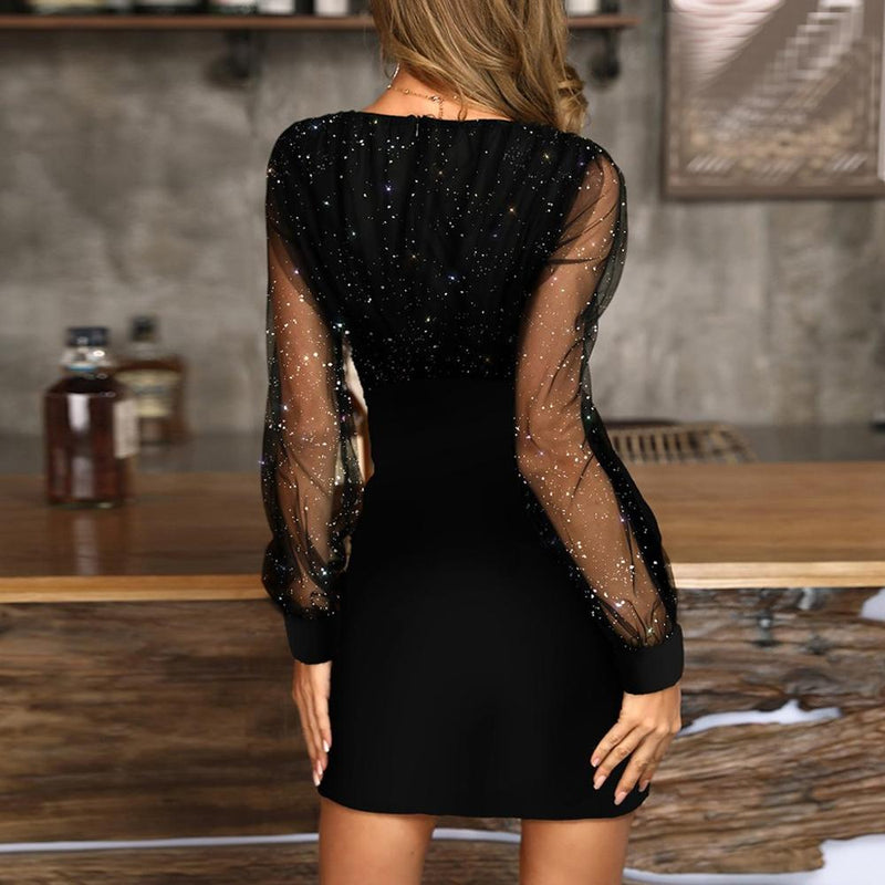 Women's Sequins Sexy V-Neck Party Dress