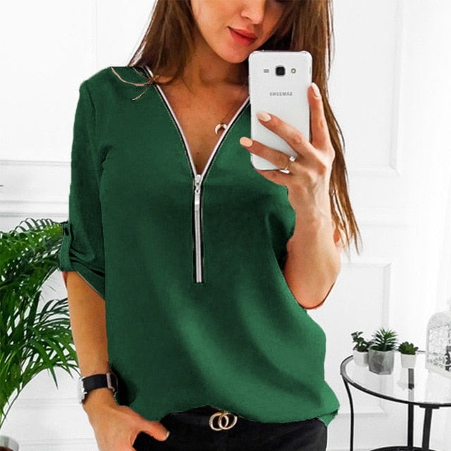 Women's Zipper Short Sleeve Blouse