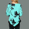Ladies Casual Floral Irregular Long Sleeve Blouse