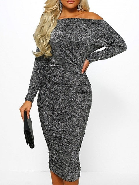 Sexy Solid Off Shoulder Glitter Bodycon Dress Evening Party