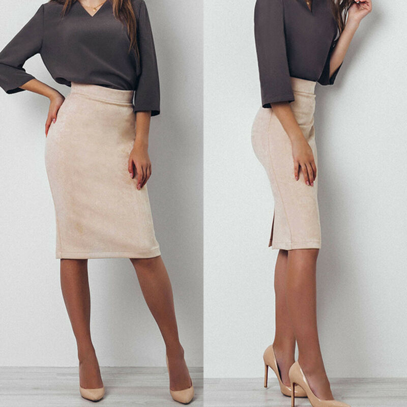 Women's Bodycon High Waist Solid Beige Skirt
