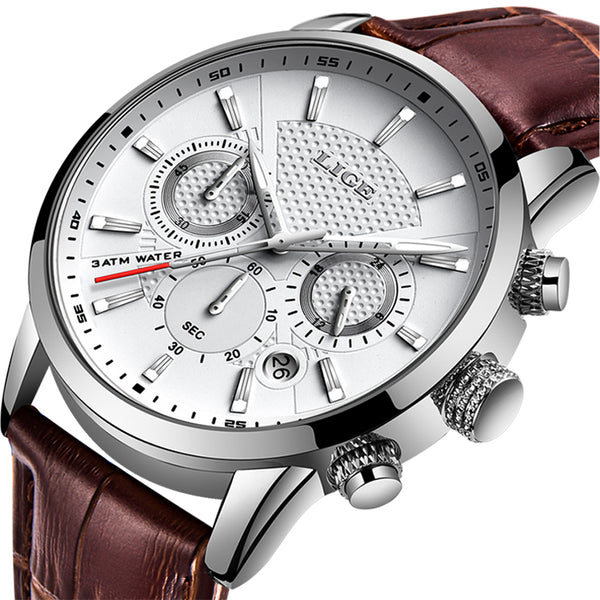 Men's LIGE Brand Luxury Leather Business Waterproof Watch