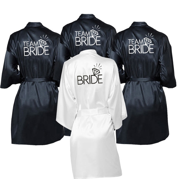 Wedding Party Team Bride Robe Kimono Satin Robe