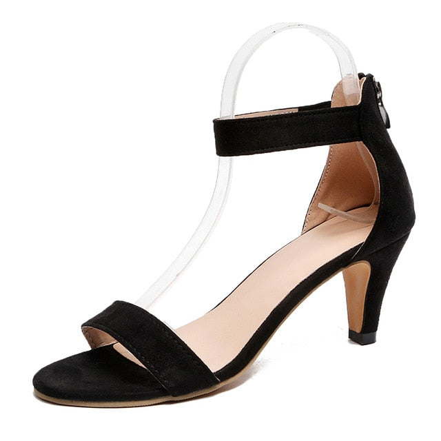 Women's Thin Open Toe Suede Ankle Strap Pumps