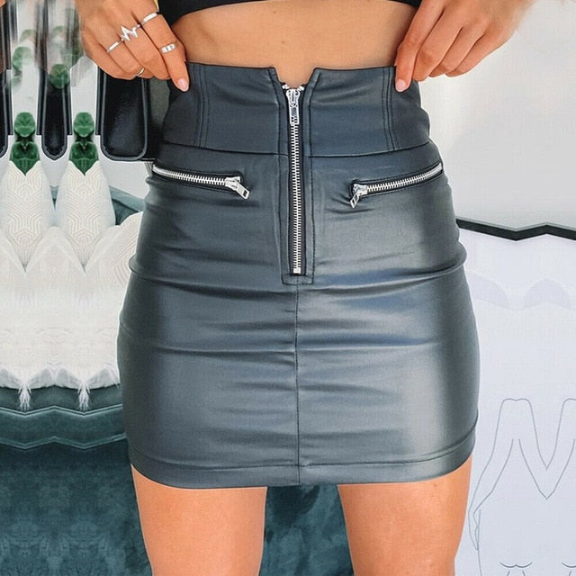 Sexy Solid PU Leather Women's Zipper Pencil Skirt