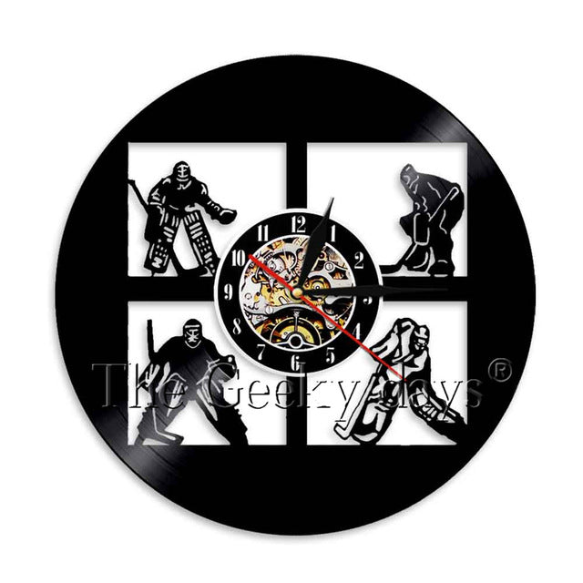 Vinyl Record Ice Hockey Wall Clock