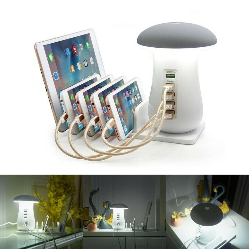 Mushroom Desk Lamp Multi-charger Hub For Smart Phone