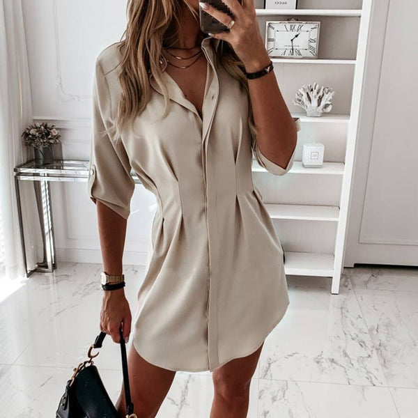 Women's Long Pleated Adjustable Sleeve Single Breasted Shirt Dress