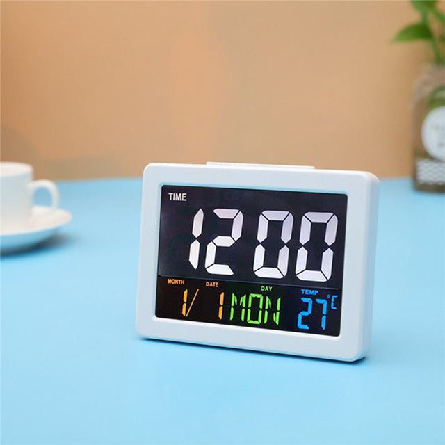 Voice Control LED Digital Alarm Clock With Thermometer Calendar Alarm Clock Night Light