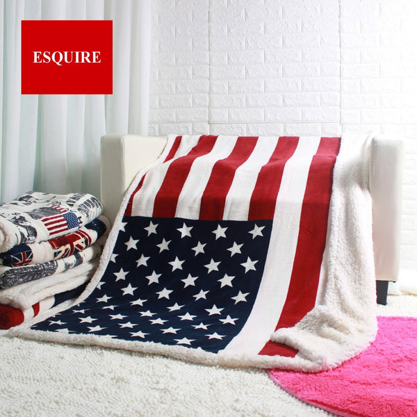 Double Layer Thick USA US CAN BRITISH Flag Fleece Plush Throw Blanket 50x60inch