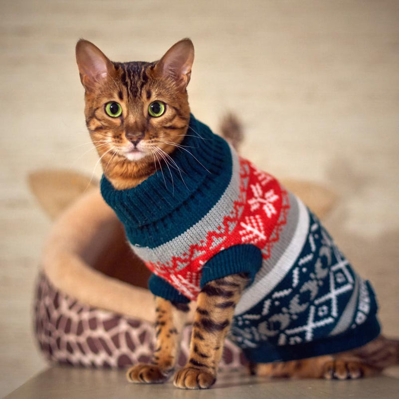 Petalk Snowflower Cat Sweater Knitwear Pet Jumper Coat Cat Christmas