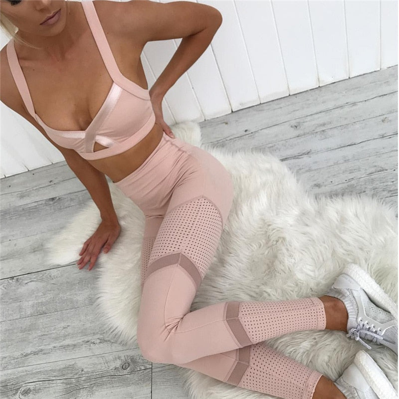 Women's Hollow Stitching Fitness Leggings