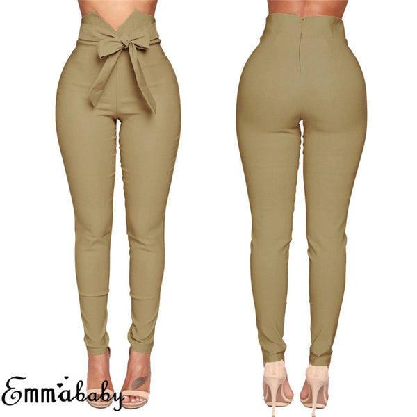 Women's High Waist Bowknot Long Slim Skinny Casual Pants