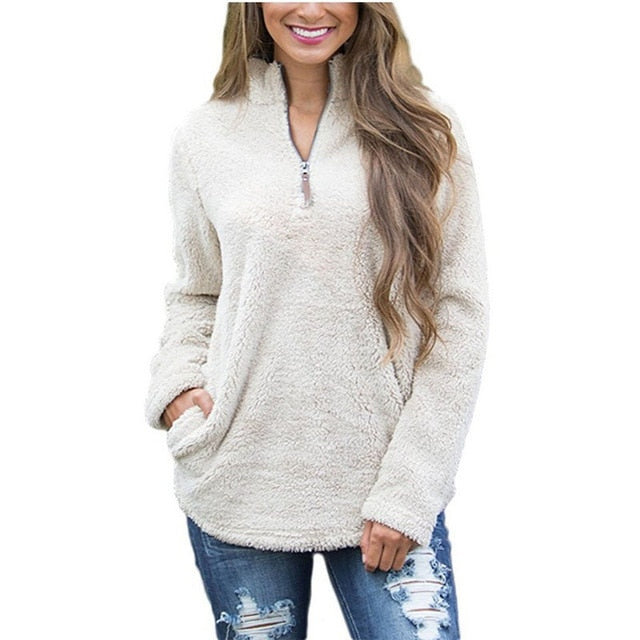 Women's Fleece Zipper Pullover Sweater
