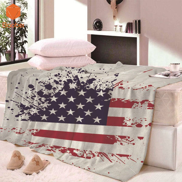 Vintage Rectangle Super Soft Thick USA Flag Blanket