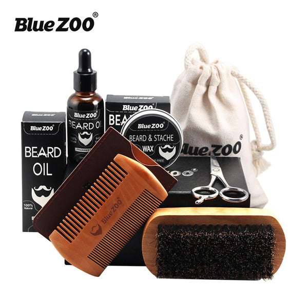 7 pcs Men's Beard Care with Beard Wax, Brush, Comb, Scissors Grooming & Trimming Kit