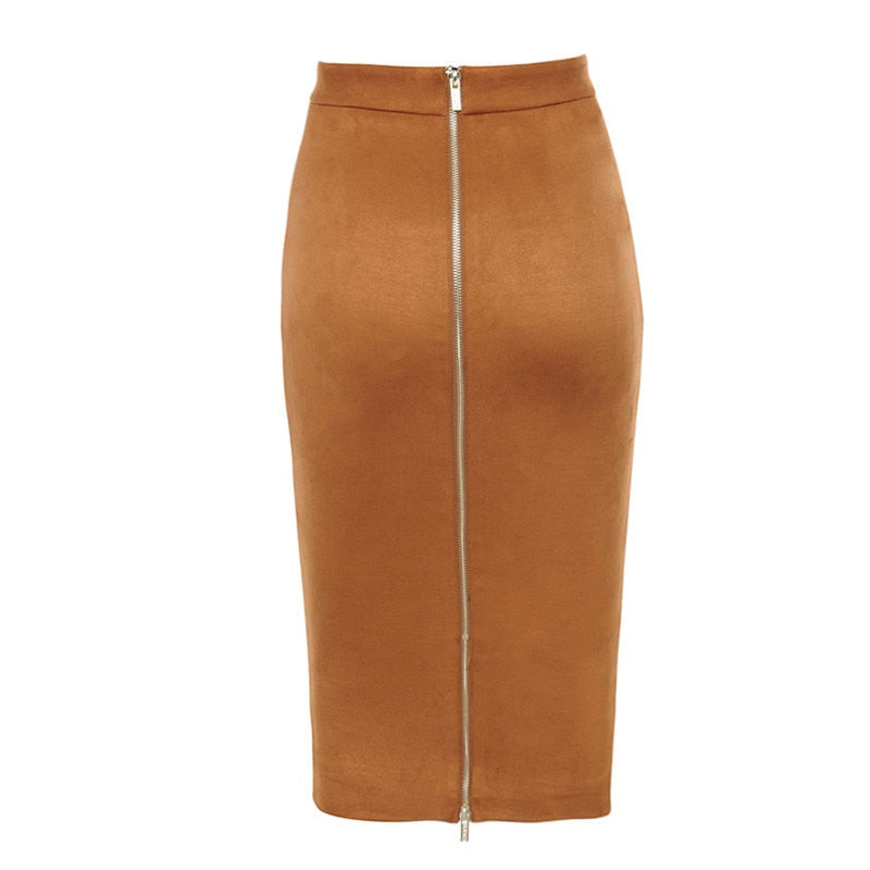 Women's High Waist Suede Bodycon Midi Skirt