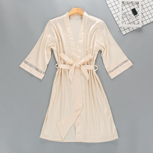 Women's Kimono Lace Robe and Slip Set