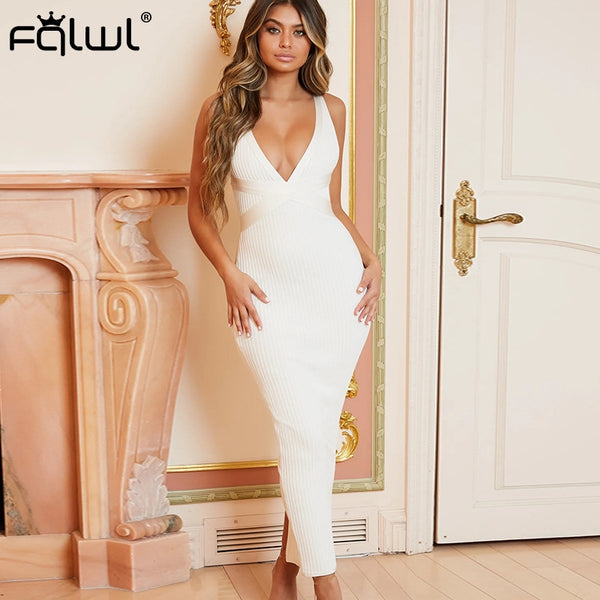 Deep V Neck Bandage Maxi Knitted Summer Dress