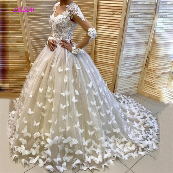 Appliques Butterfly Puffy Ball Gown Bridal Dress Dubai Wedding Dresses Customized Long Sleeves
