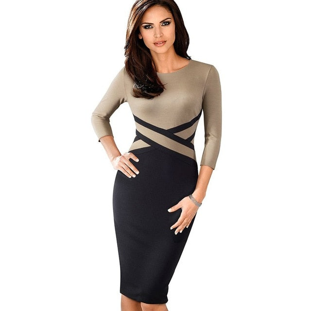 Ladies Three Quarter Sleeve Casual Business Dress