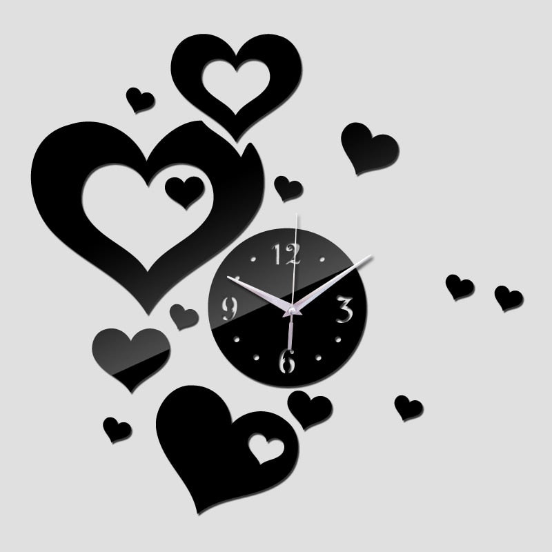 Large Acrylic Hearts DIY Mirror 3D Wall Clock