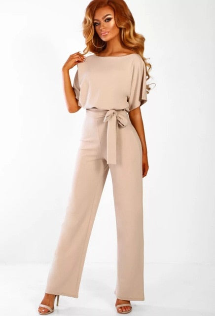 Womens Lace-up Short Sleeve Jumpsuit