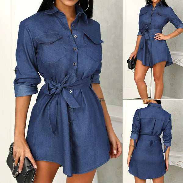 Women's Long Sleeve Button Bow Belted Denim Shirt Mini Dress