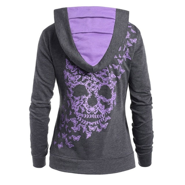 Women's Fashion Butterfly Skull Print Hoodie Sweatshirt