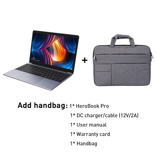 HeroBook Pro 14.1 inch Full Laminated IPS Screen with Intel N4000 Dual Core 8GB 256GB Windows 10 NoteBook