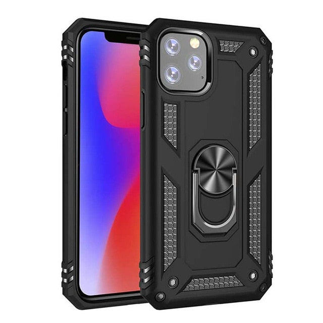 Luxury Armor Shockproof Phone Case For iPhone Plus Full Cover Car Magnetic Ring Bumper