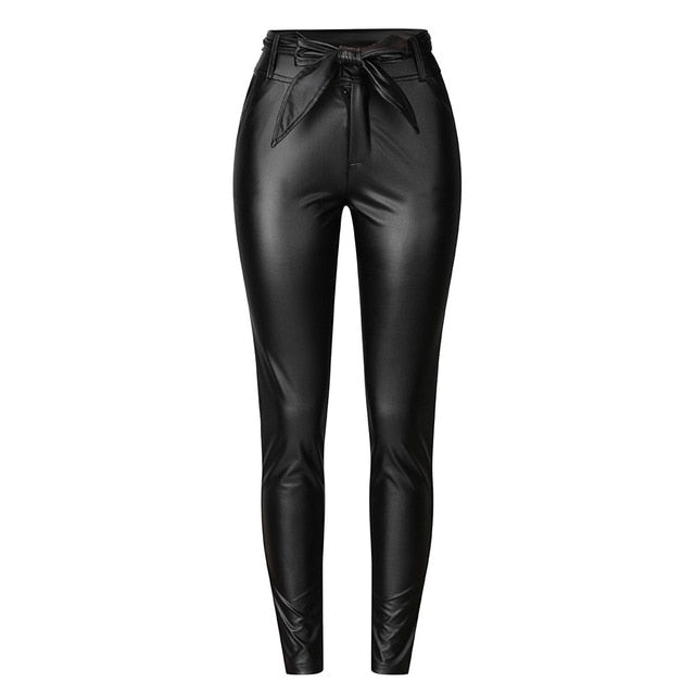 Women's High Waisted Slim Leather Pants