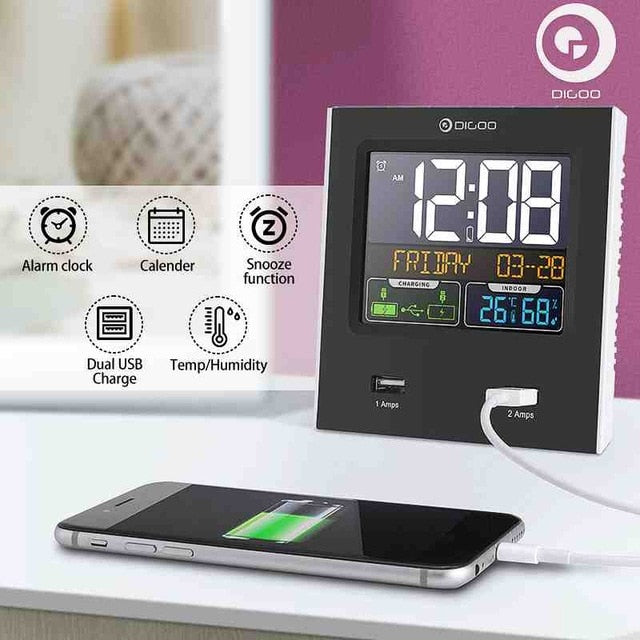 Dual Alarm Snooze Clock Calendar +2 USB Port LED Backlight Temperature Humidity Weather Station