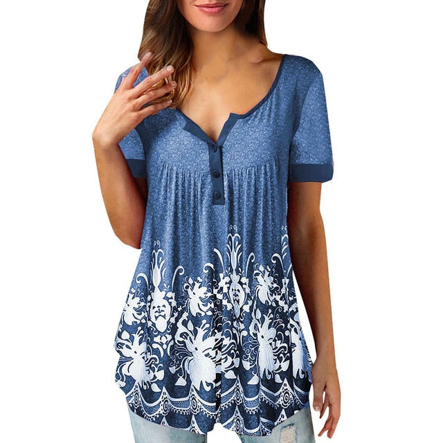 Women's Casual Short Sleeve V Neck Boho Floral Print Loose Blouse