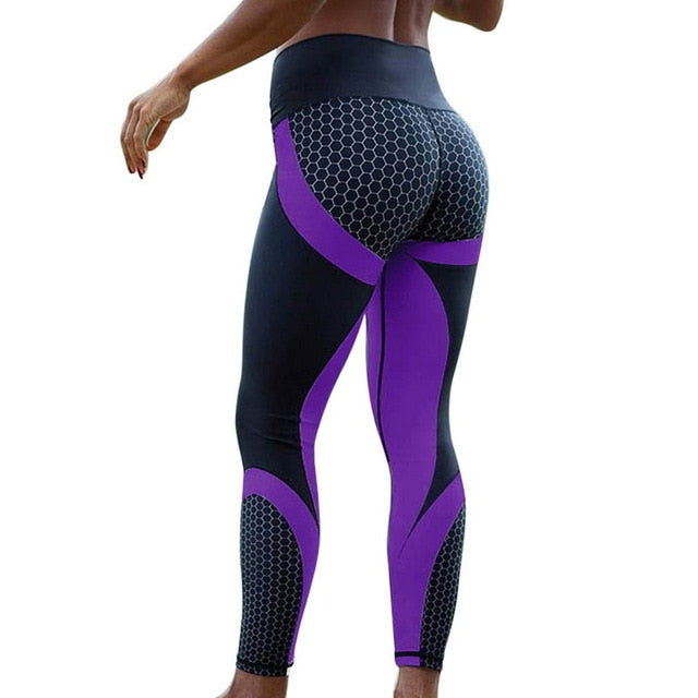 Honeycomb Printed Yoga Push Up Sport Leggings
