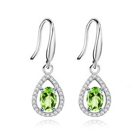 Almei Natural Gemstone Green Peridot Hook Earrings and Halo Pendant Necklace Set