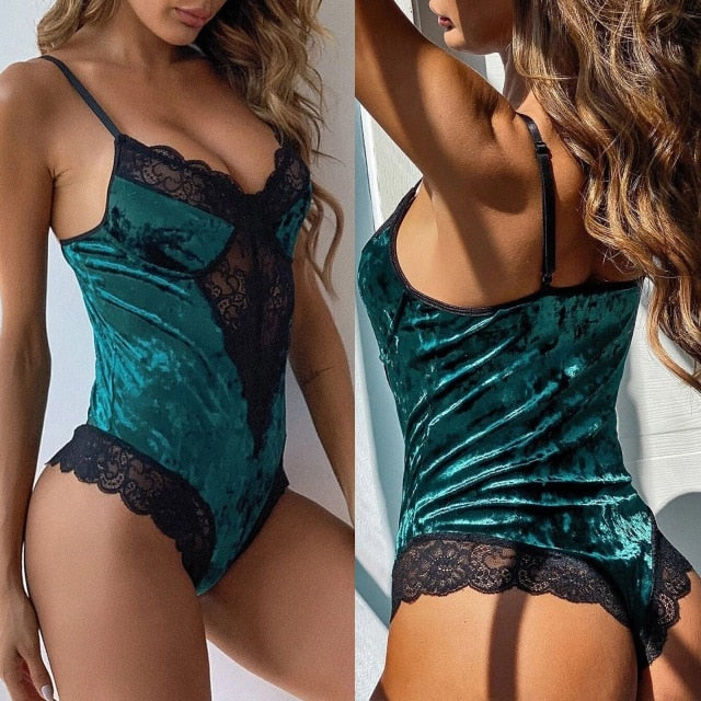 Women's Velvet Lace Teddy Bodysuit