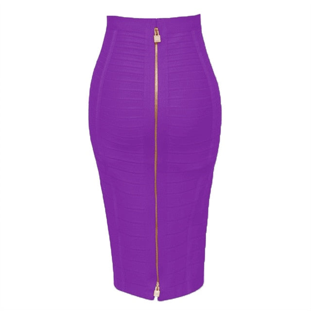 Sexy Solid Zipper Bodycon Bandage Pencil Skirt