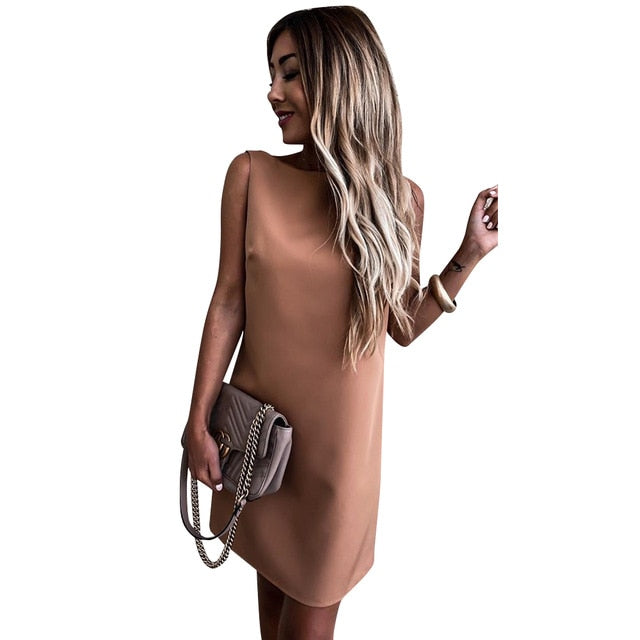 Khaki Backless Summer Dress
